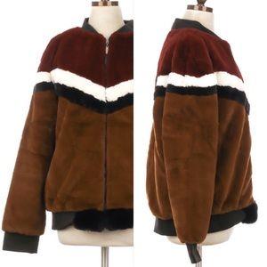 Cozy Multicolor Chevron Striped Zip Teddy Coat